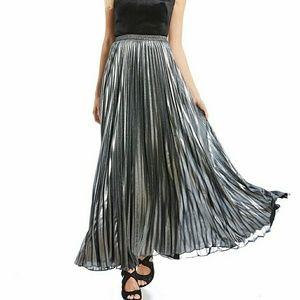 0e00663eb6c99 NWT Eliza J Pleated Lame Maxi Skirt